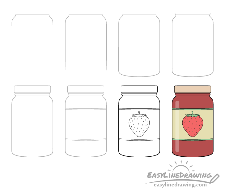 Jar of jam drawing step by step