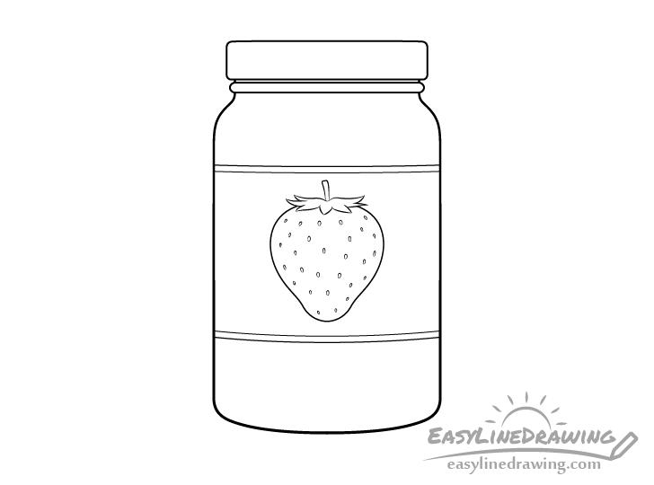 Jar of jam line drawing