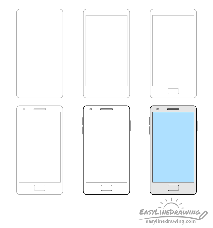 Mobile phone drawing step by step