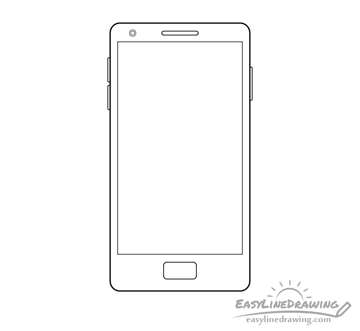 Mobile phone line drawing