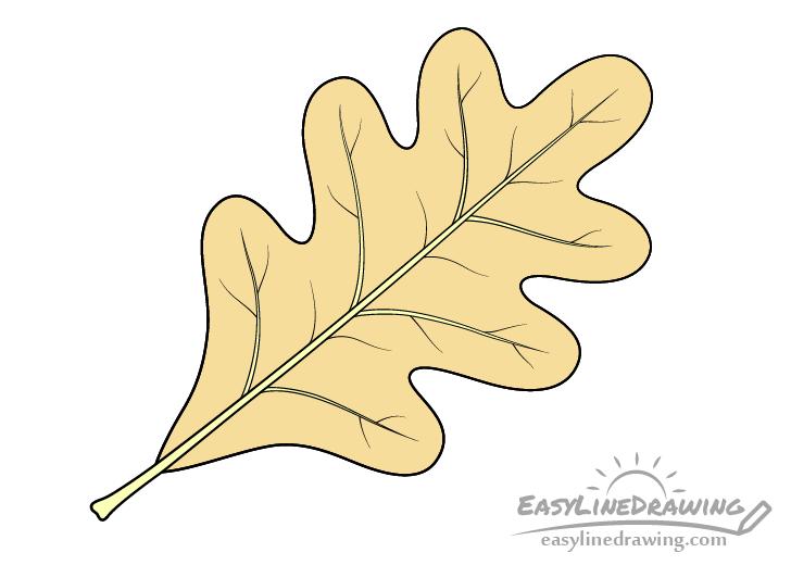 Oak leaf drawing yellow