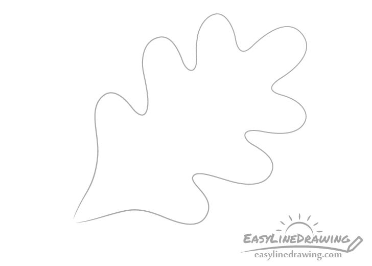 Oak leaf outline drawing