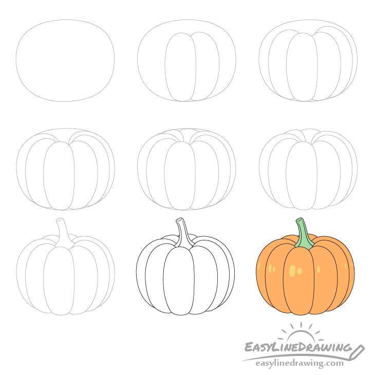 Pumpkin drawing step by step
