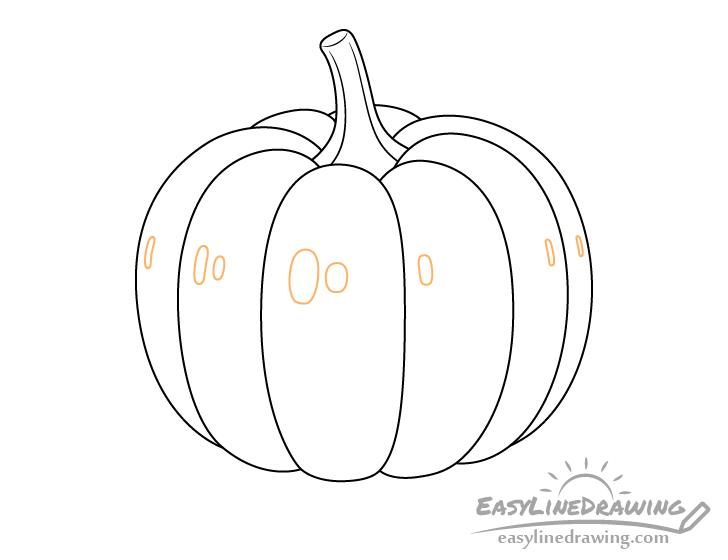 Pumpkin highlights outline drawing