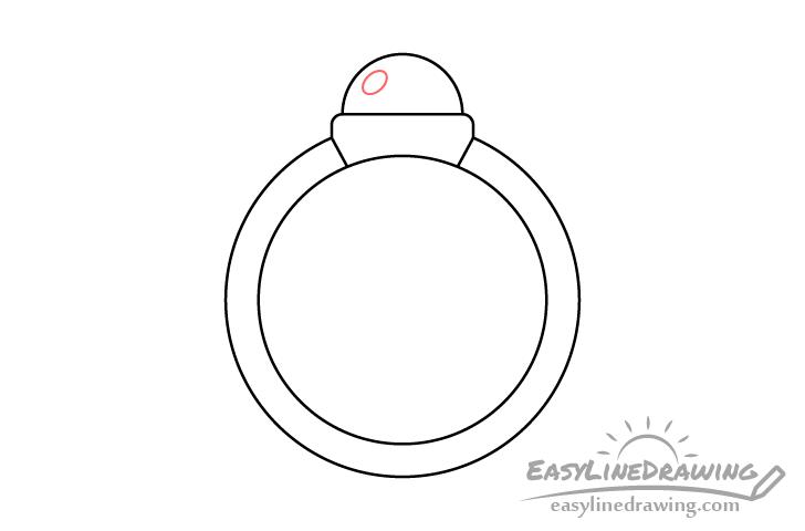 Ring gem highlight outline drawing
