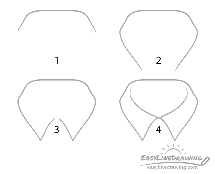 Shirt collar drawing step by step