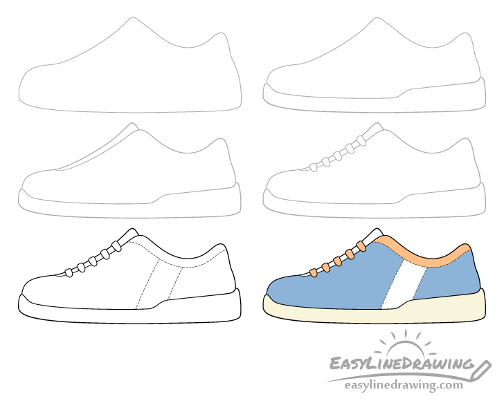 Shoe drawing step by step