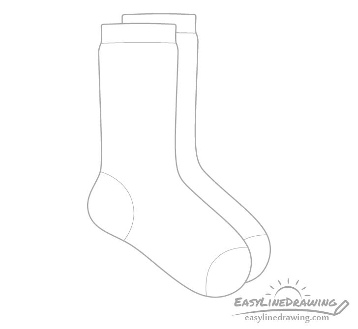 Socks heel and toes drawing