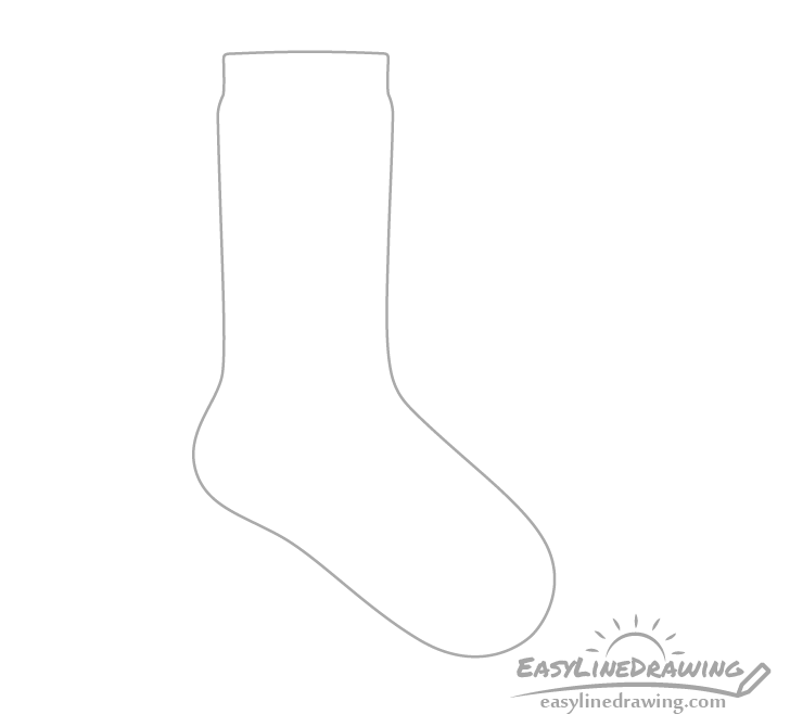 Sock outline drawing