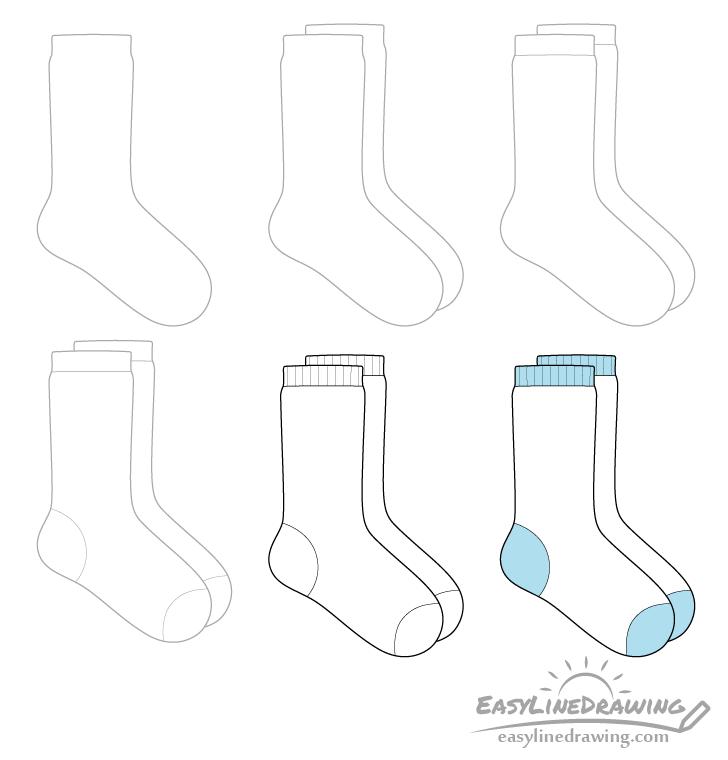 Socks drawing step by step