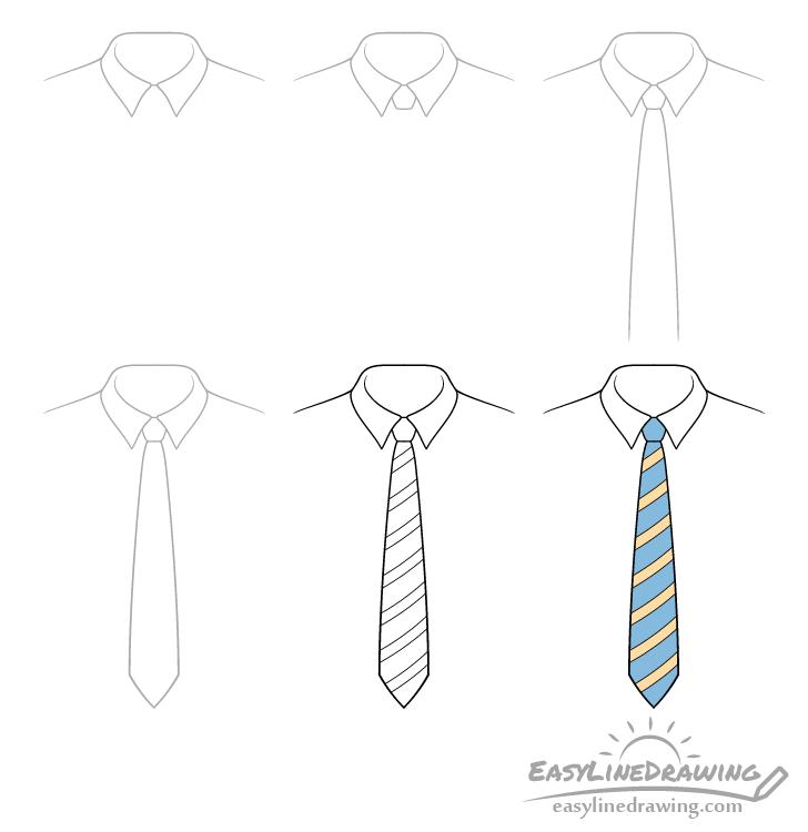 Tie drawing step by step