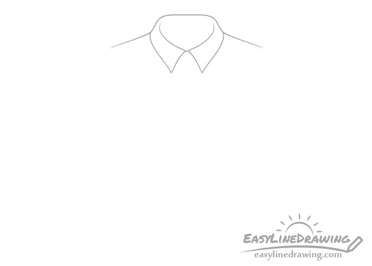 Tie shirt collar drawing