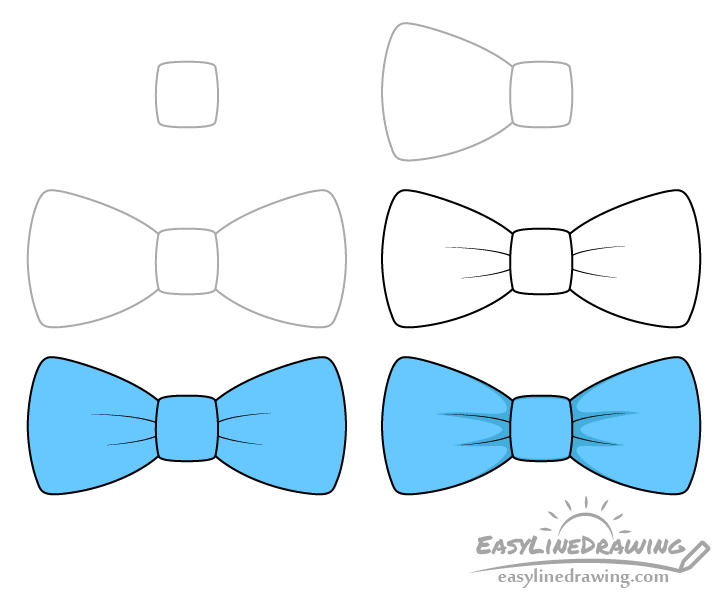 Bow tie drawing step by step
