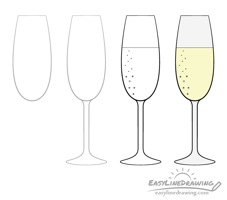 Champagne glass drawing step by step