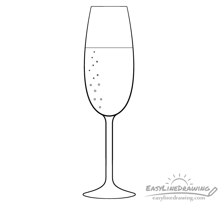 Champagne glass line drawing