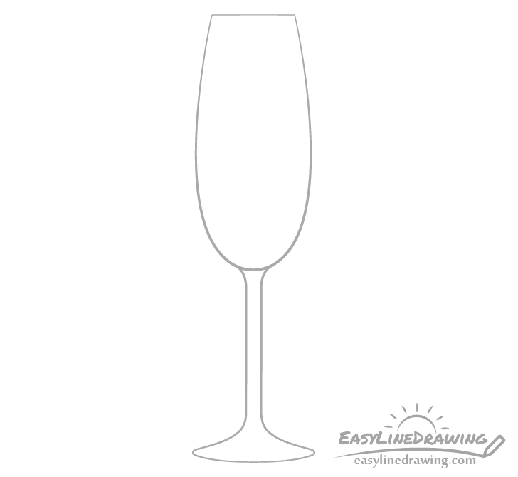 Champagne glass outline drawing