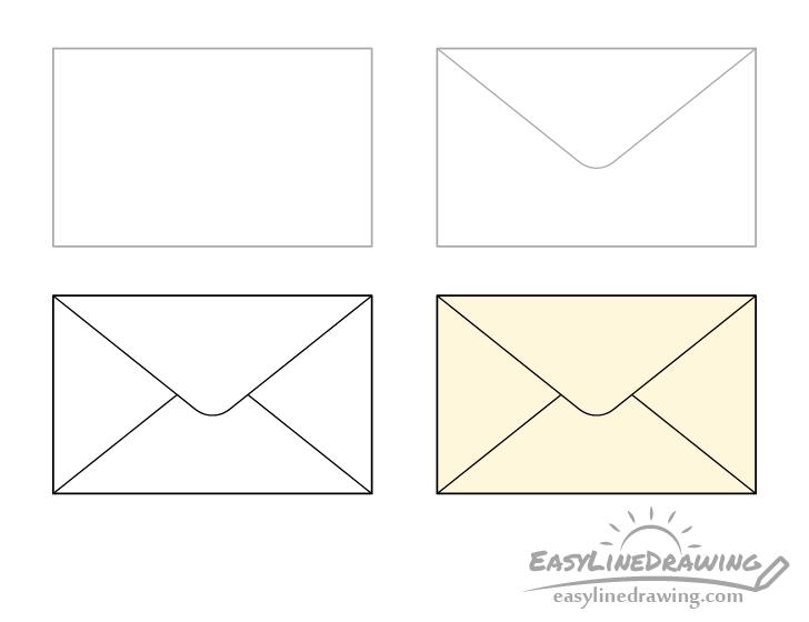 Envelope drawing step by step
