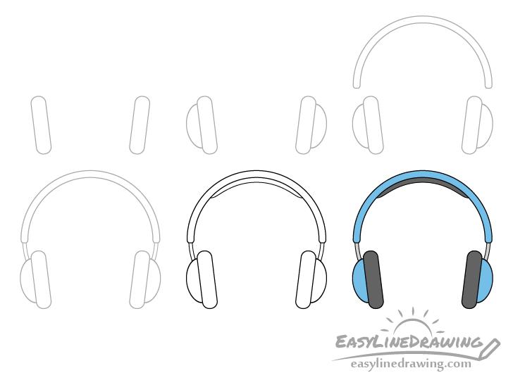 Headphones drawing step by step