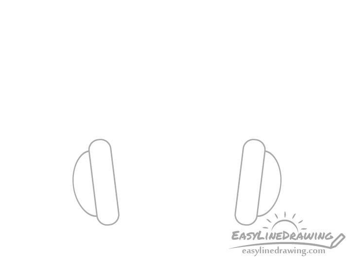 Headphones ear cups drawing