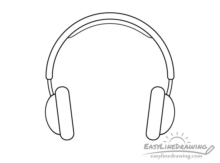 Headphones line drawing