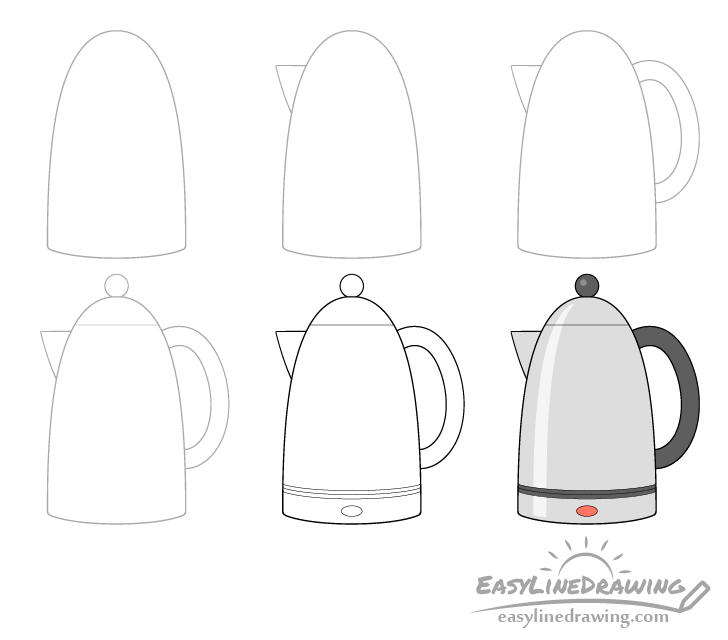 Kettle drawing step by step