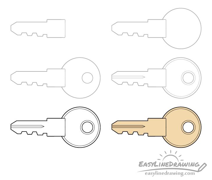 Key hole drawing step by step