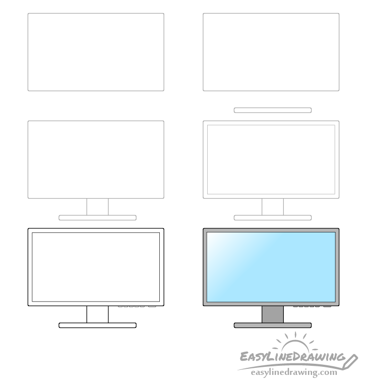 Monitor drawing step by step