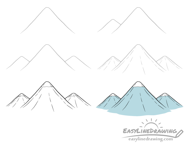 Mountains drawing step by step