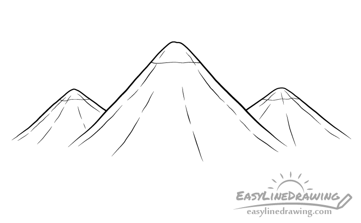 Mountains line drawing