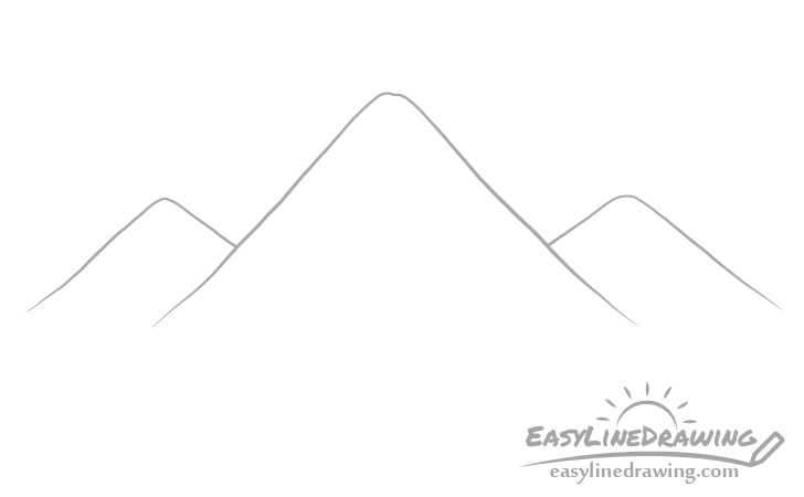 Mountains outline drawing