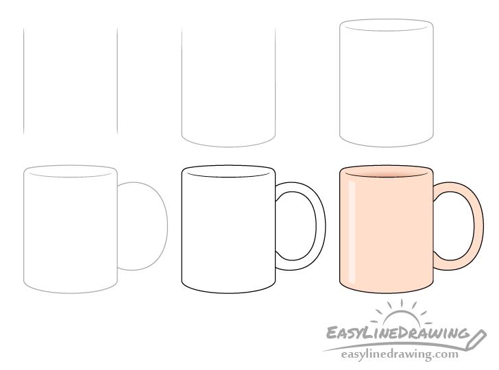 Mug drawing step by step