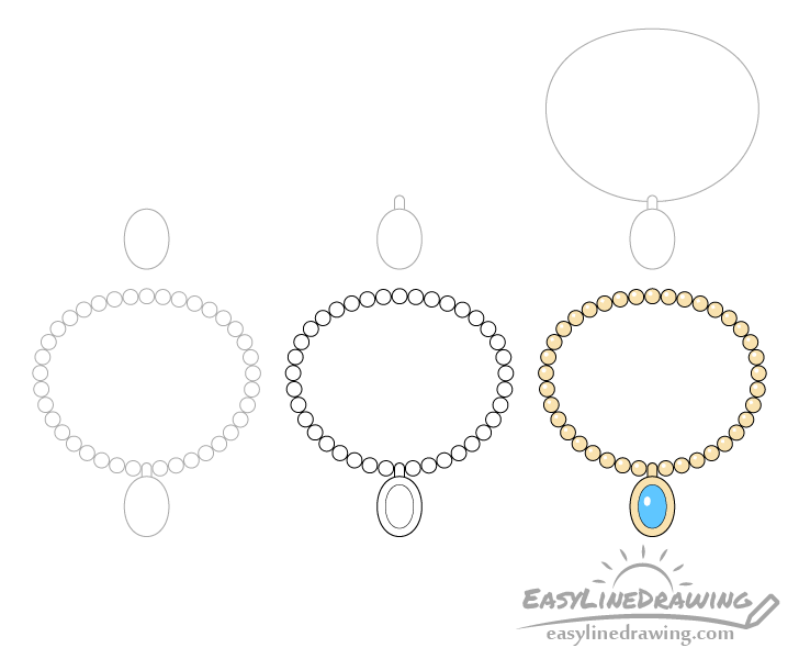 Necklace drawing step by step
