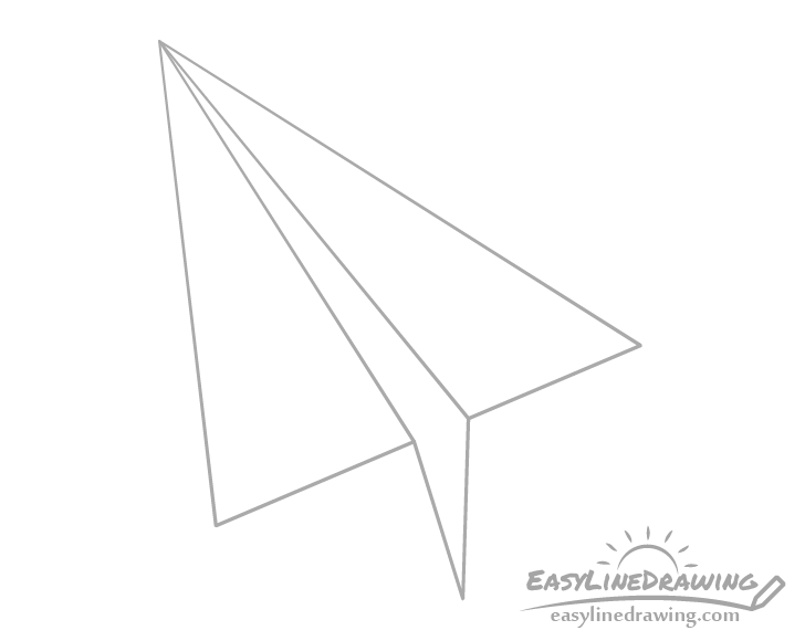 Paper airplane bottom fold drawing