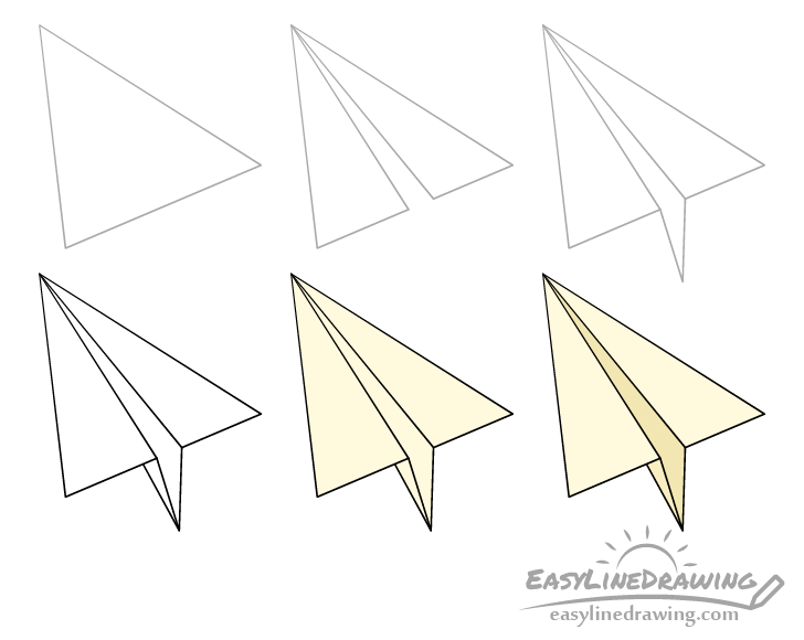 Paper airplane drawing step by step