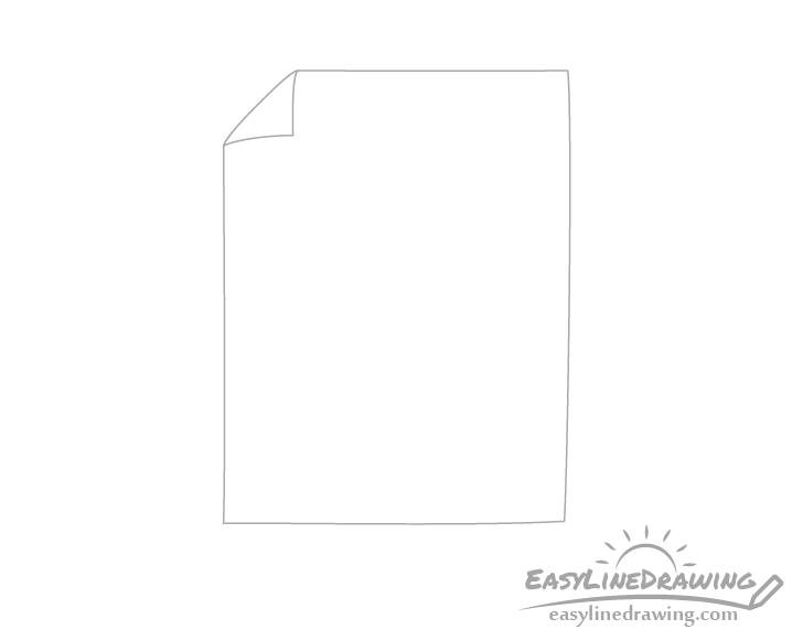 Paper bent corner drawing