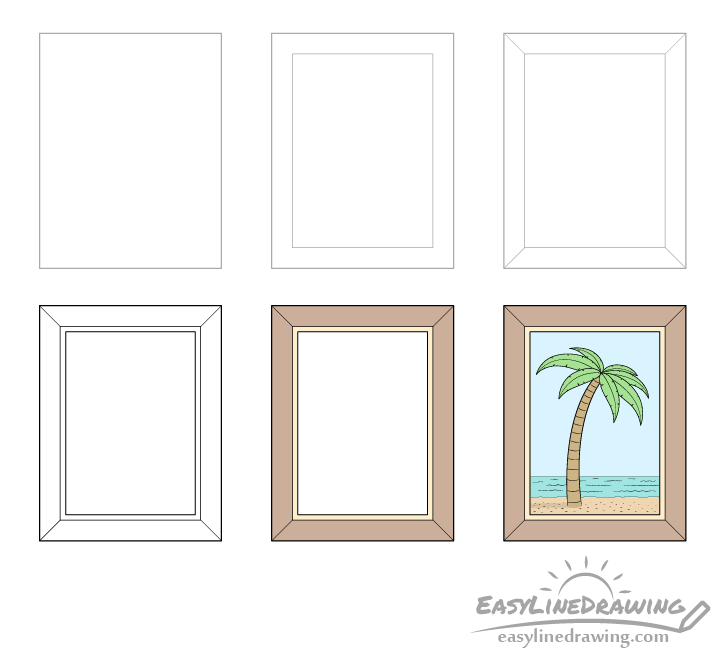 Picture frame drawing step by step