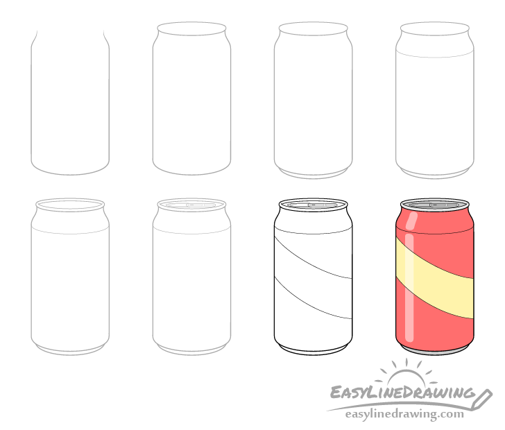 Pop can drawing step by step