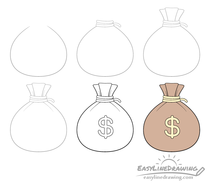 Sack of money drawing step by step
