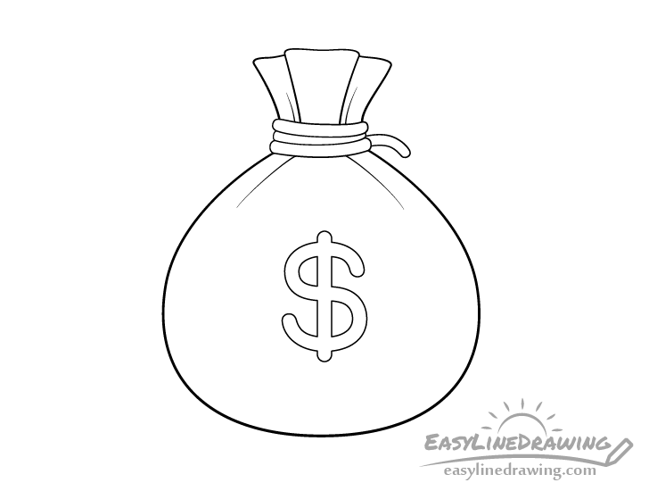 Sack of money line drawing