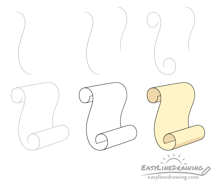 Scroll drawing step by step