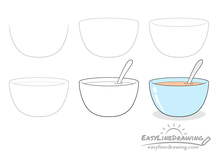 Soup bowl drawing step by step