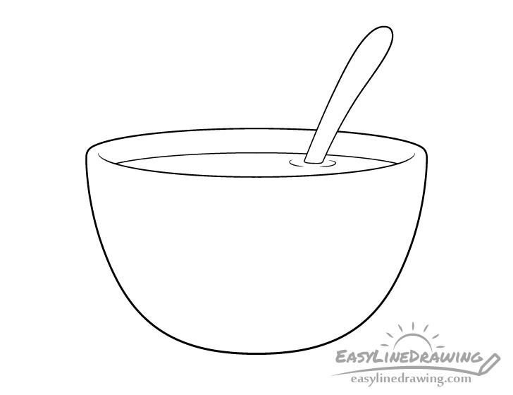 Soup bowl line drawing