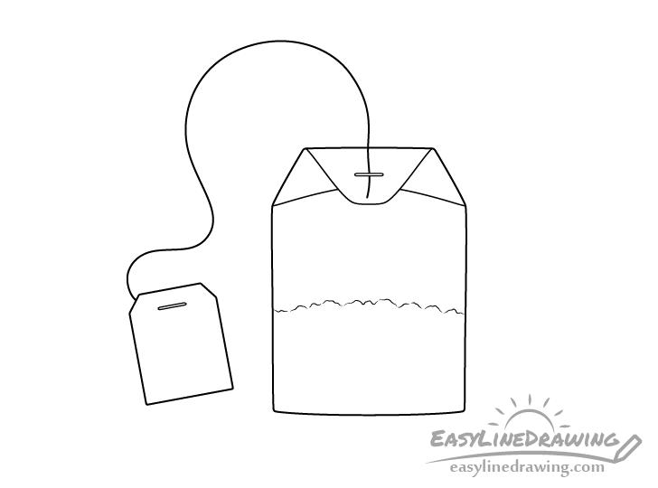 Tea bag line drawing