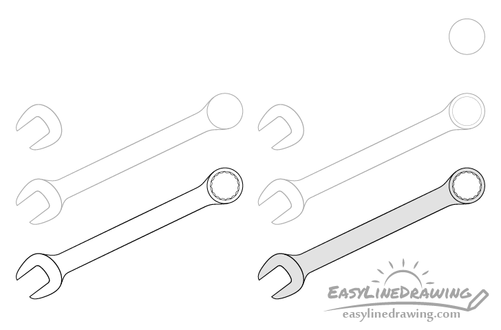 Wrench drawing step by step