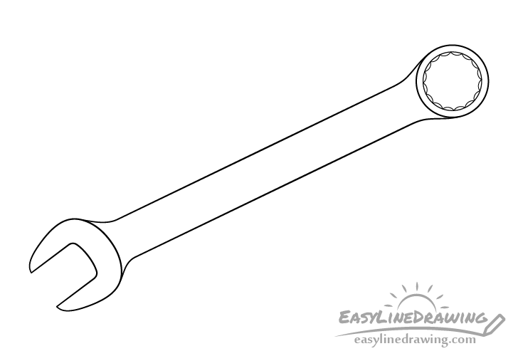 Wrench line drawing