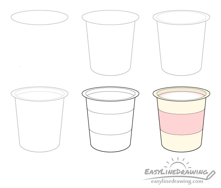 Yogurt drawing step by step