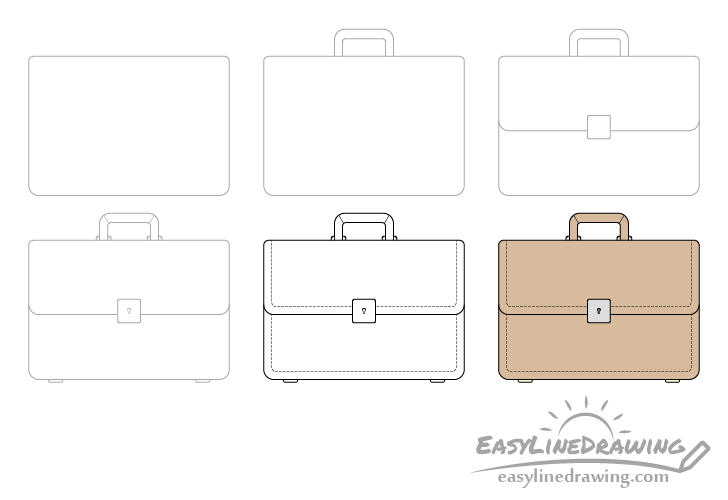 Briefcase drawing step by step