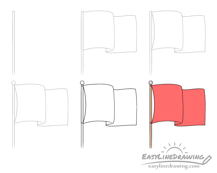 Flag drawing step by step