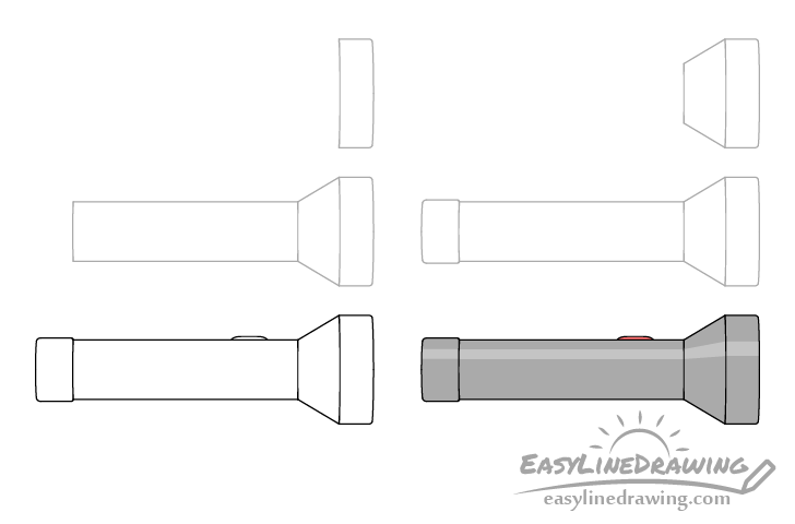Flashlight drawing step by step