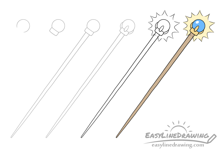 Magic staff drawing step by step
